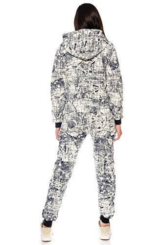Crazy Age Damen Jumpsuit Overall Hausanzug Freizeitanzug Jogginganzug Einteiler Sportanzug CA 2830 (Navy, M) - 5