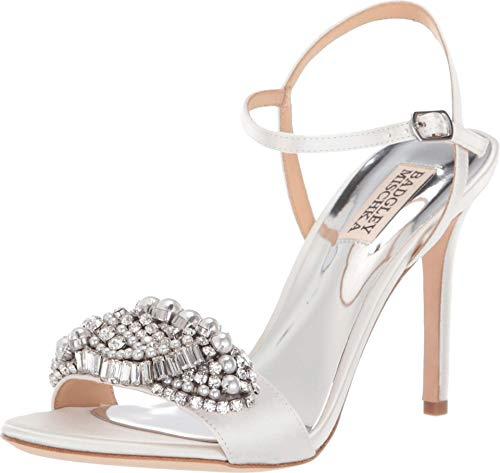 Badgley Mischka Women's Odelia Heeled Sandal, White Satin, 7 M US