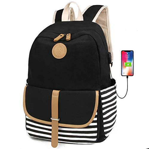 laptop bags for teen girls FLYMEI Canvas Backpack for Teen Girls, Lightweight Cute School Backpack 15.6'' Laptop Backpack with USB Charging Port, Casual Travel Back Pack Durable Bookbag for Boys/Girls