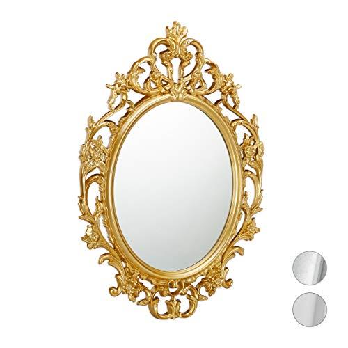 Relaxdays Espejo de Pared Barroco, Decoración de baño o Pasillo, Colgante, Redondo, Dorado, PP, Vidrio, cartón, 84 x 57 x 3 cm