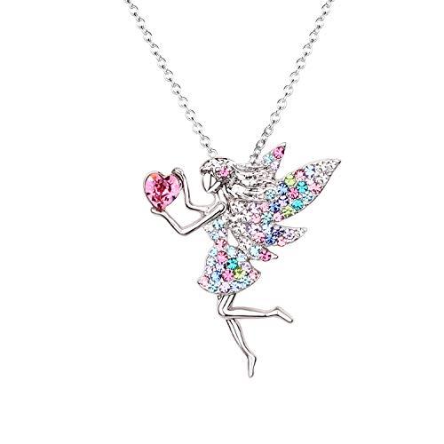SUMFAN - Collar de hada para adolescentes y niñas, con colgante de piedra natal para regalo para niños, chapado en oro blanco, cristal austriaco, joyería de regalo