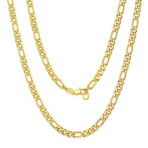 ChainsPro 3/5/8/12 MM Cadena de Fígaro 3:1, Collar De Eslabones Redondos Acero Inoxidable Dorado/Plateado/Negro para Hombre y Mujer, Joyería Moderno, 41-81CM Largo