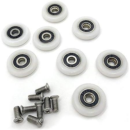rueda /única rodillos para puerta de ducha 8 piezas gu/ía de rodillos poleas de puerta de cristal ACAMPTAR ruedas corredores de ba/ño piezas de repuesto para ducha Rodillos para puerta de ducha