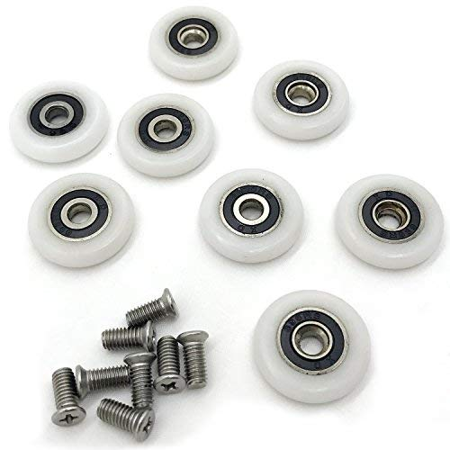 8 x Duschtür-Rollen, Laufrollen, 25 mm.