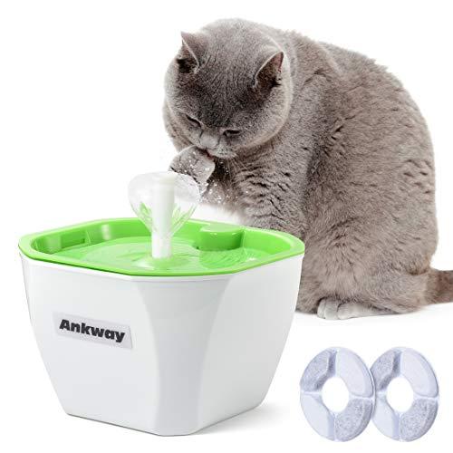 Ankway Bebedero Gatos, Fuente para Gatos Automático Bebedero para Mascotas 1.6L con filtros de Carbón y Detector de Nivel de Agua, Dispensador de Mascotas Silenciosa para Gatos y Perros