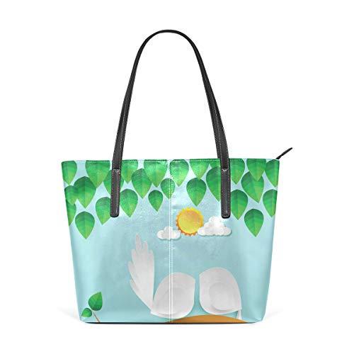 ISAOA Große Handtasche für Reisen, Schultern, Einkaufen, Strand, schöne Papiervögel, Paar, Damen Handtasche