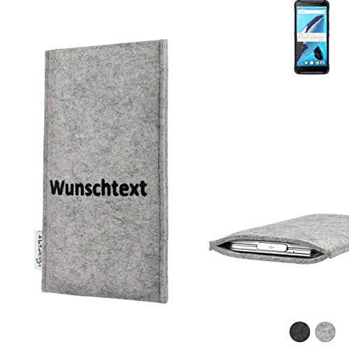 flat.design Handy Hülle Porto für Energizer Hardcase H570S personalisierbare Handytasche Filz Tasche Name Wunschtext Hülle fair
