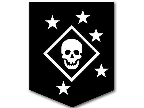 American Vinyl Black & White MARSOC Raiders Skull and Stars Logo Sticker (ops Insignia Emblem)