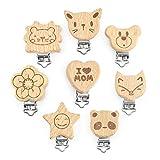 ARTESTAR Kit de Clips de Chupete Clips de Madera Lindos Chupete Corazón Animal Baby Suspender Clips DIY para Hacer sus cadenas para Niños (Natural 8)