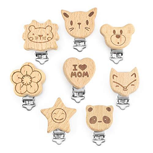 Artestar clip ciuccio legno 8 Pezzi clip portaciuccio,animale carino clip porta ciuccio kit portaciuccio fai da te per il bambino(8 pc)