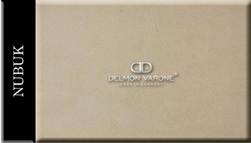 DELMON VARONE - Wandpaneele Kunstleder 60 x 40 cm selbstklebend & gepolstert in Nubuk beige - Paneel als elegante Wanddekoration für Wohnzimmer, Schlafzimmer & Esszimmer - Edle Deko Wandverkleidung