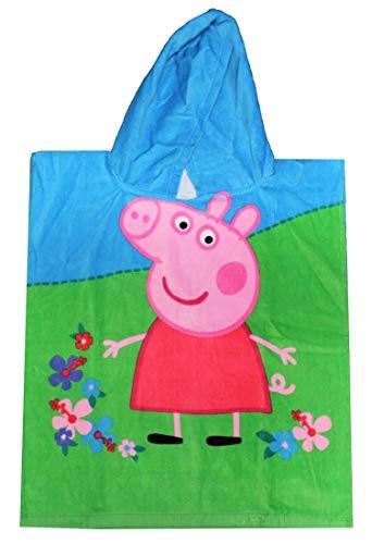 Peppa Pig - Poncho con Capucha Peppa Wutz y Luzie Locke, Talla única (50 x 115 cm), Poncho para niños Hecho de 100% algodón Oeko Tex Standard 100