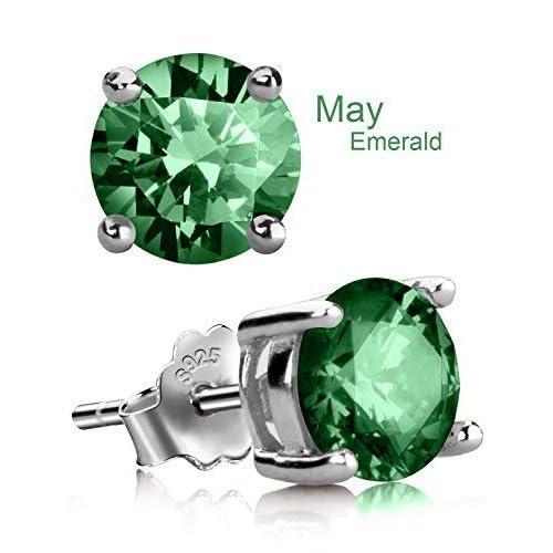 46f67c669 Stud Earrings, UHIBROS Sterling Silver Birthstone Round Cubic Zirconia  Diamond Earrings