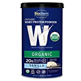 Biochem 100% USDA Organic Whey Protein - Vanilla - 12.7 oz - Easily Digestible - Pre & Post-Workout - Great in Smoothies - 20g Protein Per Serving - Refreshing Taste