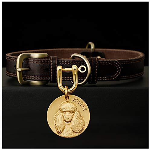 GYZD Placa de Identidad Collar de Perro de Cuero con Placa de identificación, Collar de latón Amarillo de Perro de Cuero Suave Personalizado con Etiqueta de Placa de latón sólido,Poodle,XXL 50~62CM