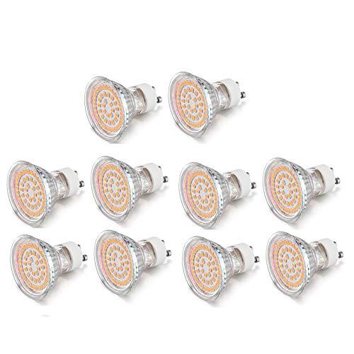 Lqdpdd Bombillas LED GU10, Bombilla De Foco LED De 3W 2835 Perlas 100-265 (V) para Debajo del Gabinete, Iluminación De Riel, Paquete De 10,Warm White Light