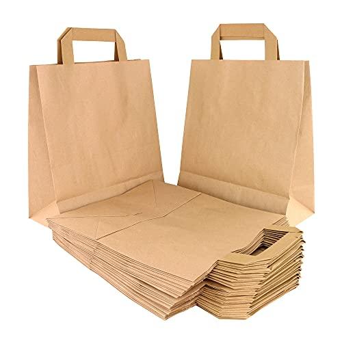 INIT Pack 20 Bolsas De Papel Kraft Con Asa Plana Y Basa Ancha Bolsas Pequeñas. Bolsitas De Papel Para Regalo. Bolsa De Carton Para Bocadillos. Sobres Papel Regalos. (32x37x22cm, Kraft)