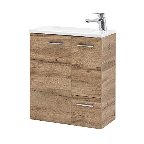 BODENMEISTER Waschtischunterschrank mit Waschbecken 50cm breit-Eiche Landhaus Dekor braun ohne Armaturen, Holzwerkstoff, 50 cm