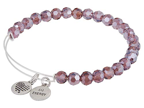 Alex and Ani Starburst Beaded Expandable Wire Bangle Violet One Size