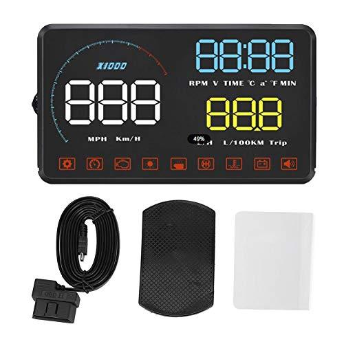 KIMISS HUD Head-Up-Display, Blau Weiß A9 HUD 5,5-Zoll-Universalautodisplay ODB2-System Kfz-Diagnosemessung, Wassertemperatur, Spannung