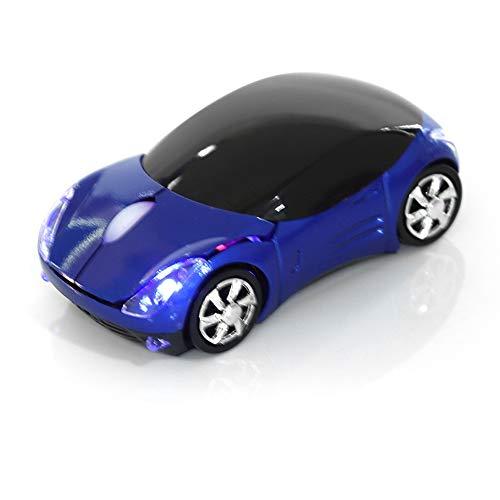 Bewinner Ratón Inalámbrico para Niños,2.4G Ratón Inalámbrico con Receptor USB,1600DPI Ratón Automóvil Ratón Óptico Bluetooth para Computadora Portátil PC Tableta Juegos Oficina Mac Windows(Azul)