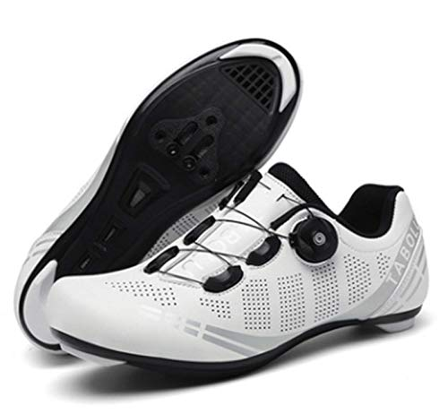Govoland Cycling Shoes Men's And Women's Road Bike Cycling Shoes Laces Bicycle Shoes Indoor/outdoor With Lock(39, White)