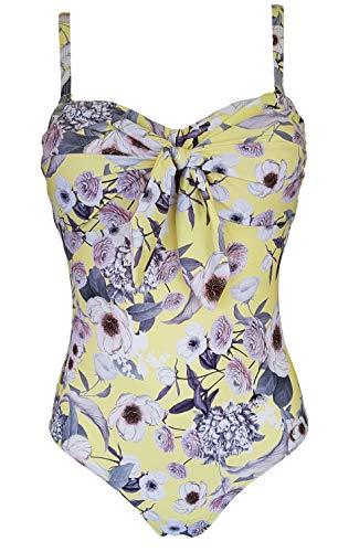 Costume intero da donna Fantasy Island Knot Front a fascia con spalline staccabili imbottite e morbide coppe da spiaggia, costume floreale Limone 48