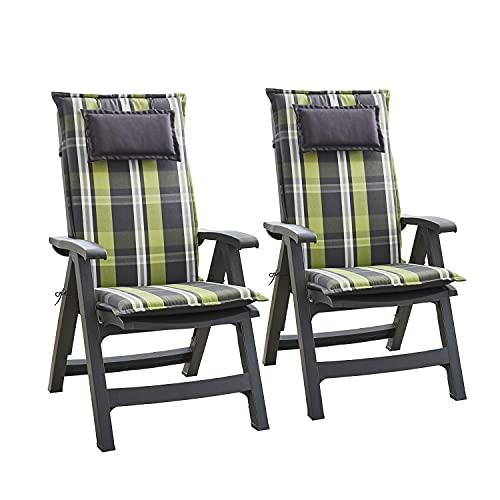 Homeoutfit24 Donau - Cojín Acolchado para sillas de jardín, Hecho en Europa, Respaldo Alto, Poliéster, Resistente a los Rayos UV, Relleno de Espuma, 120 x 50 x 6 cm, 2 Unidades, Gris/Verde