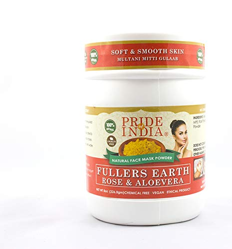 Pride Of India - Fuller's Earth Indian Clay Face Mask Powder w/Rose & Aloevera, Half Pound Jar, 100% Natural