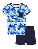 Hawiton Pijama niño Verano Corto, Manga Corta Ropa de Dormir de Camuflaje para 14-15 años, Camiseta con Bolsillo en el Pecho y Pantalones Corta 2 Piezas