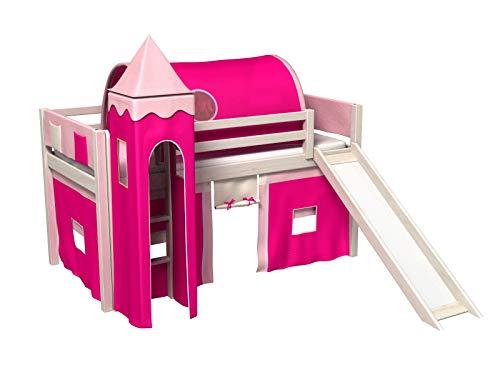 Bociek Meble Cama con tobogan,Torre,Tunel,2 x Bolsillos,Cortinas,colchón,Cama de Juego,Cama para niños,de Alta,Muchos Colores (BLANQUEADO-2062)