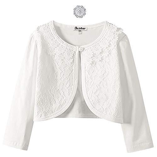 Shrugs for Girls 7 16 Bolero Jackets Cardigan Button Closure Long Sleeve White