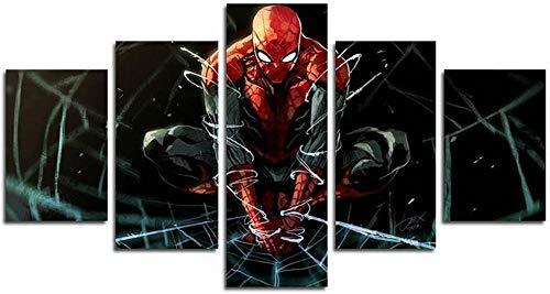 5 Pezzi Stampa Su Tela In TNT XXL Immagini Spider Superhero Movie Muralemural Quadri Moderni Casa Decor Regalo Creativo per La Casa Multipannello Arte(Senza Telaio)