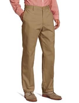 IZOD Men s American Chino Flat Front Classic Fit Pant English Khaki 36W x 32L