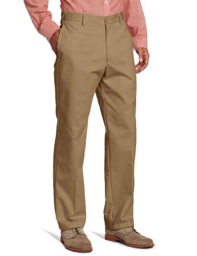 IZOD Men's American Chino Flat Front Classic FIT Pant, English Khaki, 38W x 30L