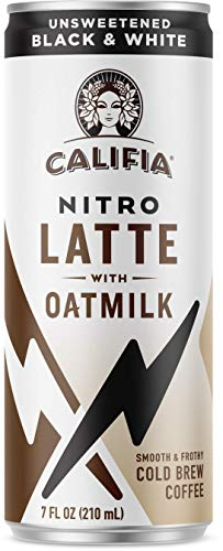 Califia Farms - Nitro Cold Brew Coffee, Oat Milk Latte - Unsweetened Black & White - 7 Oz (12 Cans) | Shelf Stable | Iced Coffee On-the-Go | Clean Energy | Dairy Free | Gluten Free | Plant Based