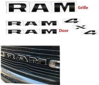 Set RAM Grille 4x4 Overlay Decal Fender Ram Sticker Letters Fit for 2019 Ram 1500 2500 3500 Black 4pcs Decals