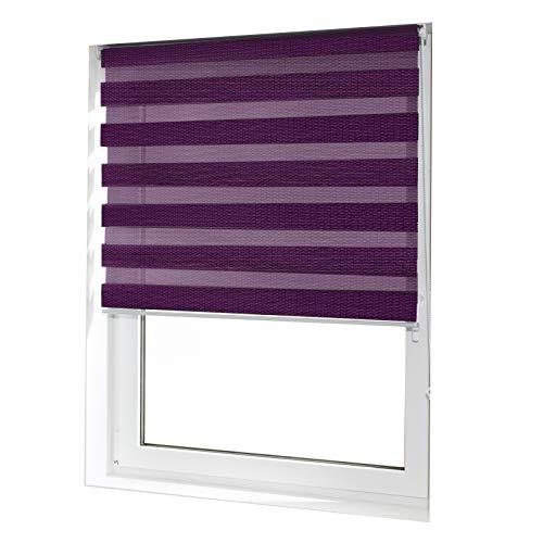 casa pura® Doppelrollo Day & Night mit Doppelfunktion - tageslichtdurchlässig und verdunkelnd - in 8 Größen | Violett | 110x150cm