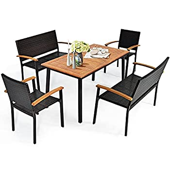 Tangkula 5 Pieces Patio Dining Set Outdoor Acacia Wood Dining Furniture w/ 2 Rattan Chairs & 2 Rattan Benches Modern Conversation Set w/Solid Wood Table & Umbrella Hole for Backyard Garden Porch