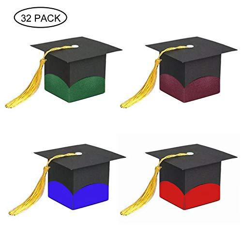 Huttoly 32 Stück Abschlussfeier Geschenkbox Geschenkschachtel Doktor-Hut Sugar Pralinenschachtel Doktorhut Deko Box Baby Süßigkeit Schachtel Graduation Cap Geschenkbox für Abschlussfeier,Party,Taufe