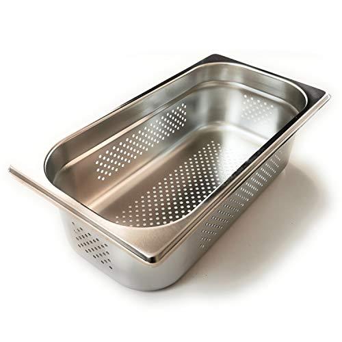 Gastronette GN Behälter Edelstahl Schale Gastronorm rechteckig 1/3 gelocht Gastrobehälter 65 mm eckig Geschirr für Dampfgarer Edelstahlbehälter Lochblech perforiert Gastro Behälter Chafing Dish
