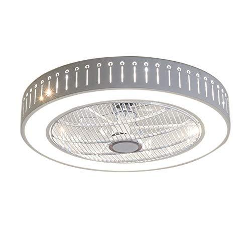 Ventilador de techo con iluminación ajustable, luz LED, ventilador de techo con mando a distancia, 40 W, color blanco, para dormitorio, salón, comedor