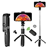 Selfie Stick Tripod,Extendable Bluetooth Selfie Stick with Wireless Remote,Compatible with iPhone 11/11 pro/X/8/8P/7/7P/6s/6,Samsung Galaxy S9/S8/S7/Note 9/8 More