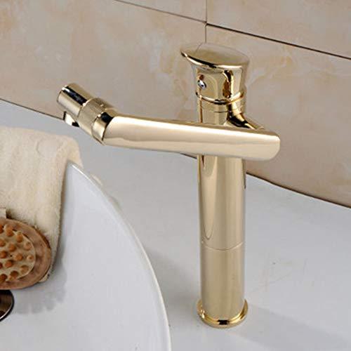YHSGY Küchenarmatur Bad Becken Wasserhahn Gold Massivem Messing Einzigartiges Design Waschbecken Mischbatterie Hot & Cold Waterfall Becken Wasserhahn