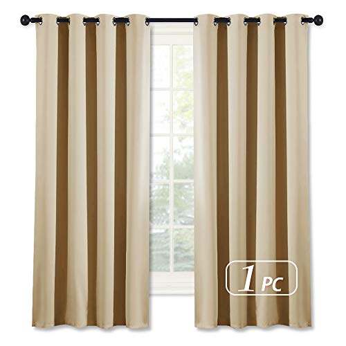 NICETOWN Room Darkening Window Shade and Blind - (Biscotti Beige Color) Light Reducing & Privacy Protection Blackout Short Curtain/Drape/Drapery for Kid's Bedroom, 52x63 inches, 1 Piece