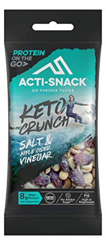 ACTI-SNACK Salt & Apple Cider Vinegar Keto Crunch. Sports Nutrition Snacks. Rock Salt and Apple Cider Vinegar Almonds, Cashews and Peanuts. Keto Certified. High in Plant Protein. Vegan. 12 x 40g