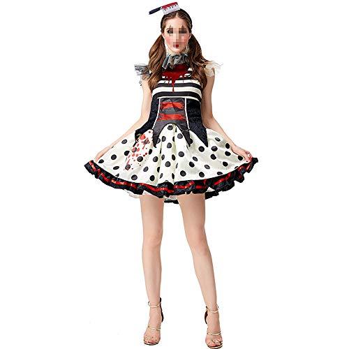 OUJIE Costume De Cirque pour Dames, Jeu De Rôle Halloween, Fille De Clown, Couvre-Chef Effrayant, Mini-Robe Tutu,S