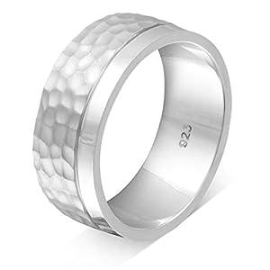Adomio -Trauring Partnerringe Antragsring Verlobungsring mit Hammerschlag-Technik Handarbeit - Ring aus massivem hochwertigem 925 Sterling Silber & gratis Gravur - S-AS-H