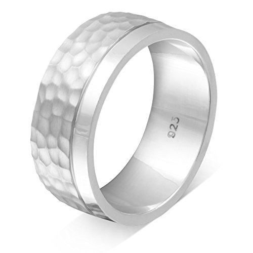 Adomio -Trauring Partnerringe Antragsring Verlobungsring mit Hammerschlag-Technik Handarbeit – Ring aus massivem hochwertigem 925 Sterling Silber & gratis Gravur – S-AS-D-62(19,7)