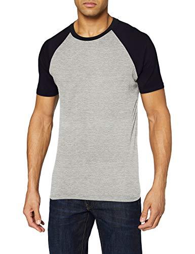 Urban Classics Herren Raglan Contrast Tee T-Shirt, grey/navy, M